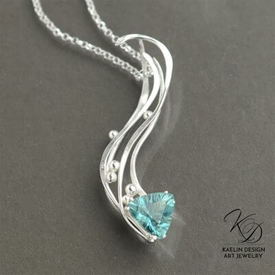Blue Fluorite Art Jewelry Pendant by Kaelin Design