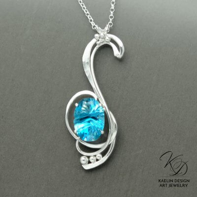 Ocean Tides Hand Forged Original Art Pendant by Kaelin Design Art Jewelry