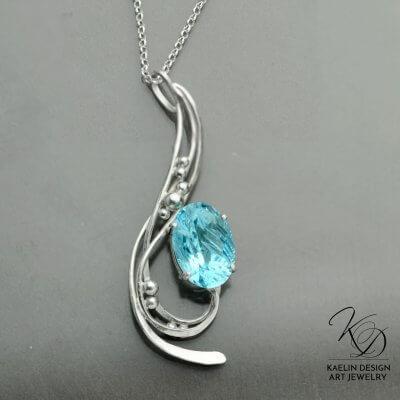 Driftaway Hand Forged Original Art Pendant by Kaelin Design Art Jewelry