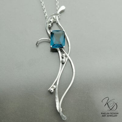 Sea Dancer hand forged silver Spinel pendant by Kaelin Design