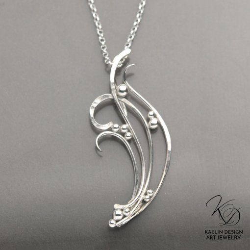 Catching Waves hand forged silver pendant by Kaelin Design
