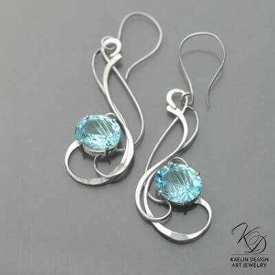 Shimmering Seas Hand Forged Blue Topaz Silver Earrings by Kaelin Design
