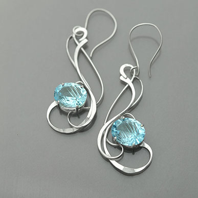 Shimmering Seas Hand Forged Blue Topaz Silver Earrings by Kaelin Design