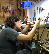 Kaelin at Work creating hand forged art jewelry