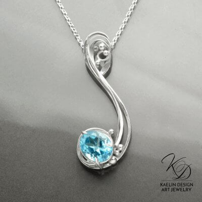 Ebb Tide Hand Forged Silver and Blue Topaz Fine Art Jewelry Sculpture by Kaelin Design