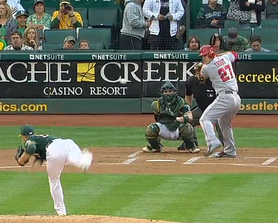 Mike Trout showing numbers to the pitcher
