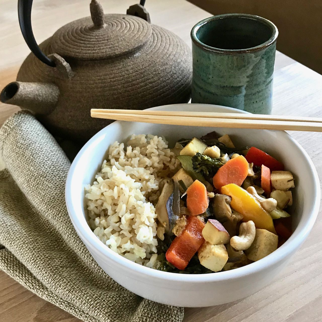 Vegan Thai Green Curry with Vegetables & Tofu