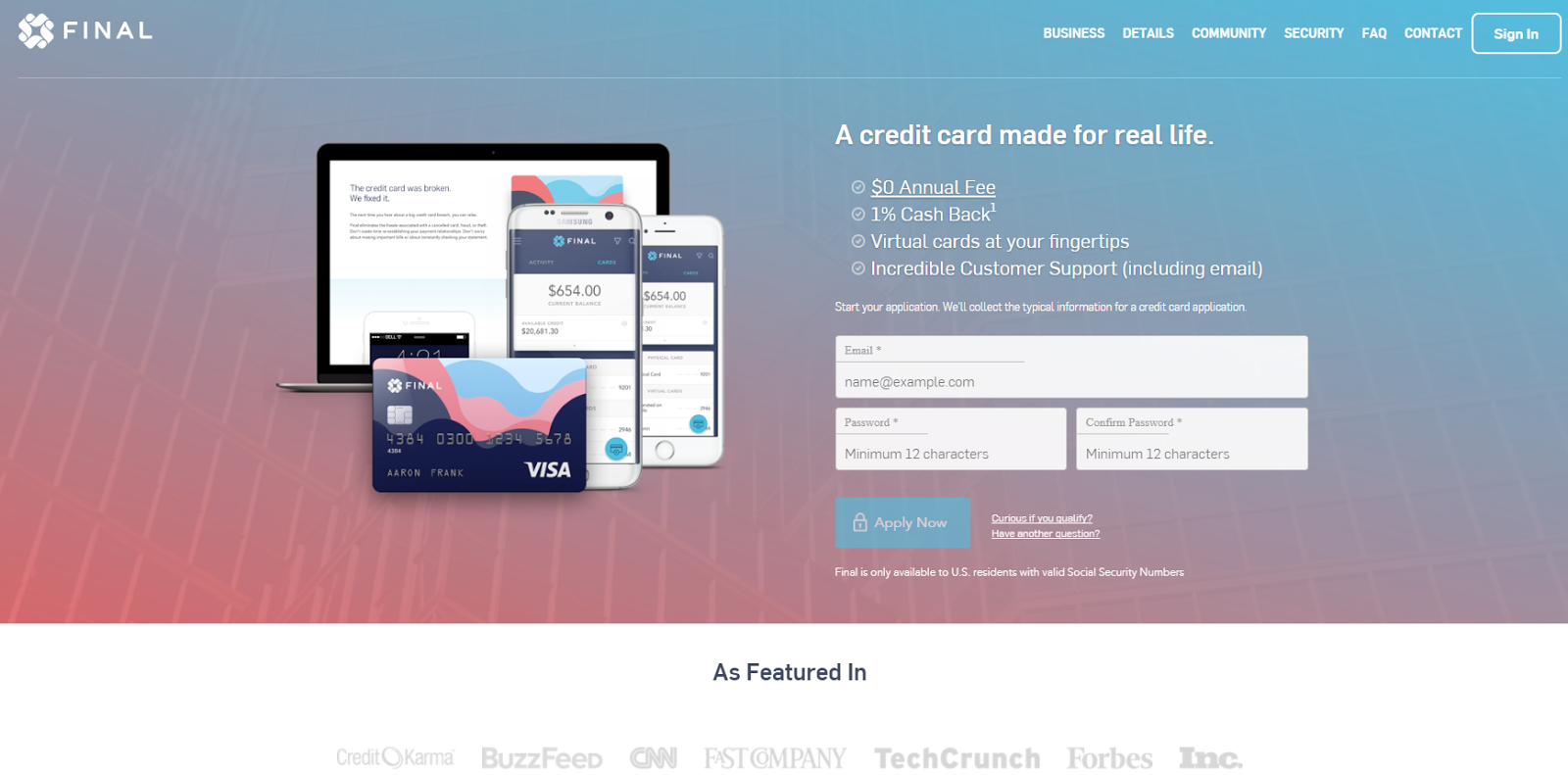 What does the landing page look like
