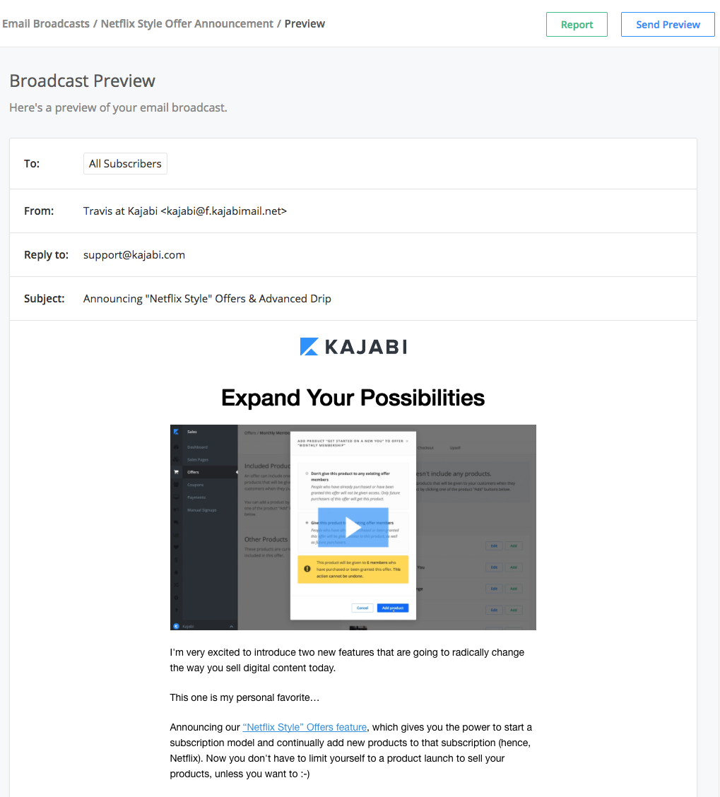 kajabi email broadcasts