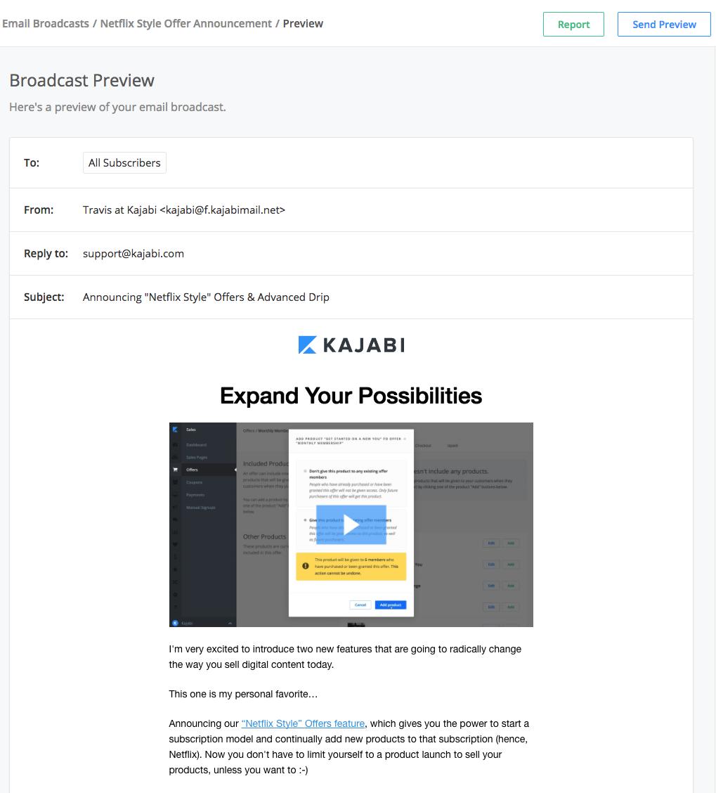kajabi email broadcasts