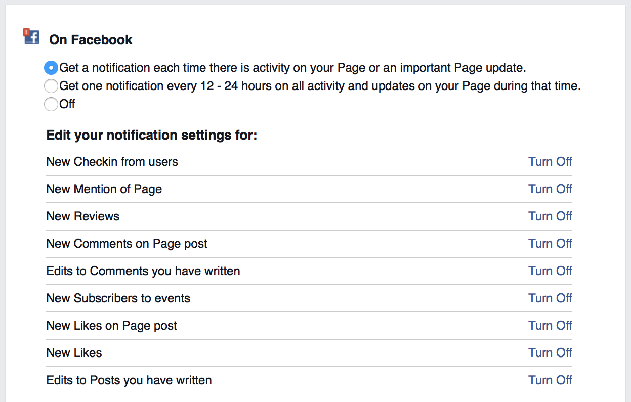 how to delete notifications on facebook business page