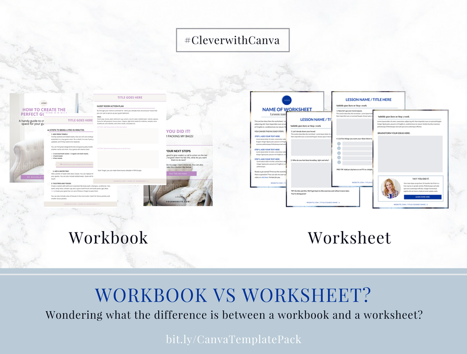 How to create your worksheets in Canva – Workbook Vs Worksheet