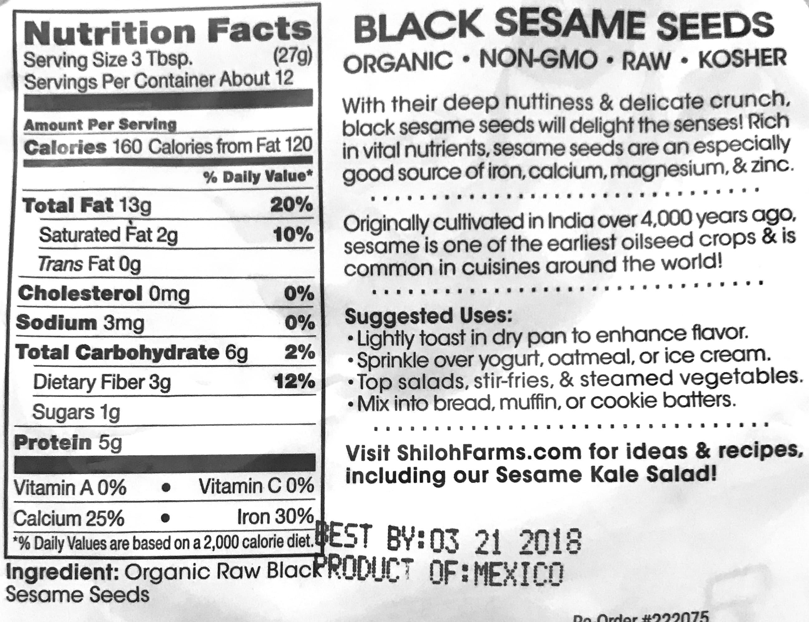Nutritional value of black sesame seeds