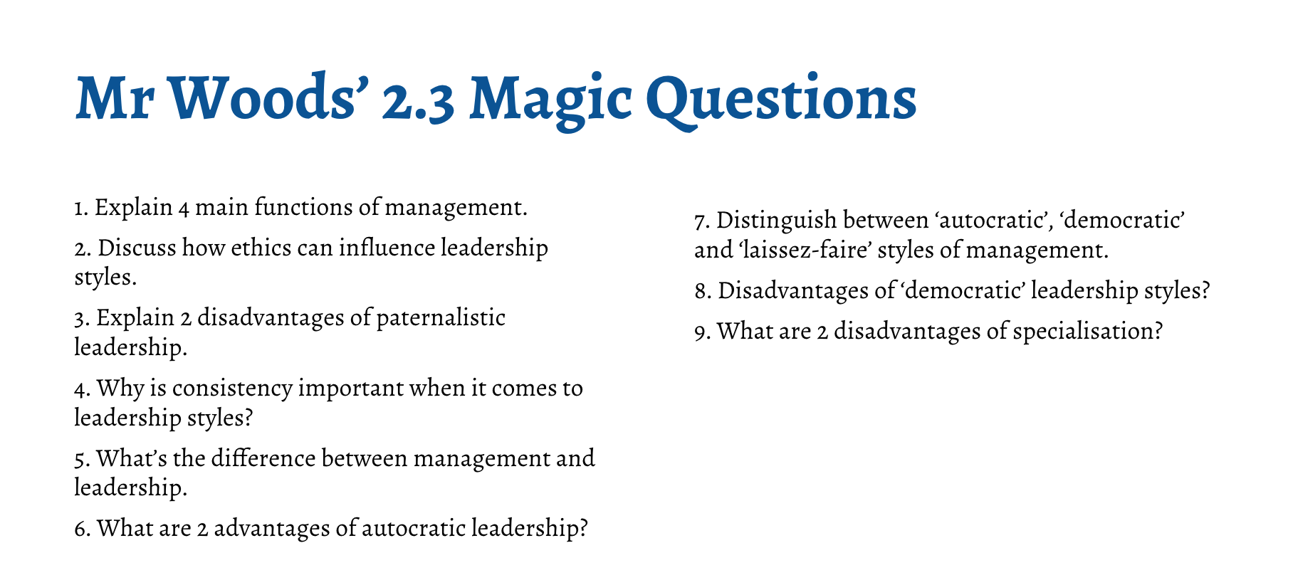 IB Business Management Magic Questions - Section 2