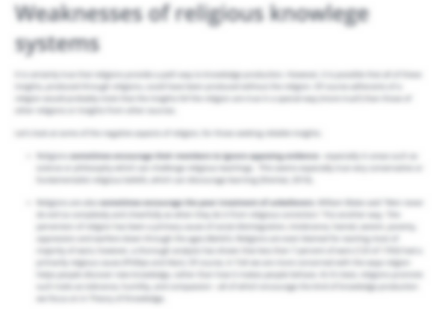 Religious Knowledge Systems Notes - ToK