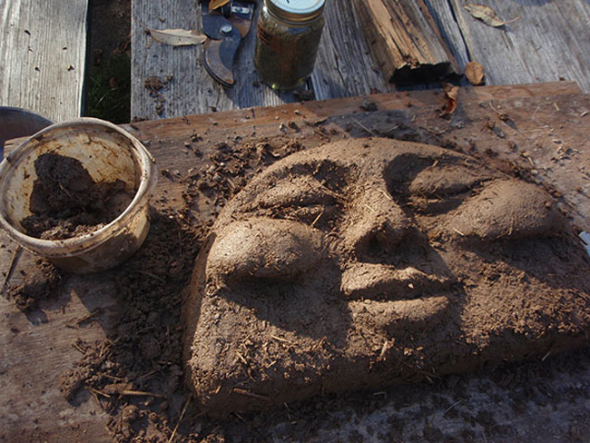The Smiling Sun Earth Oven Face, in process