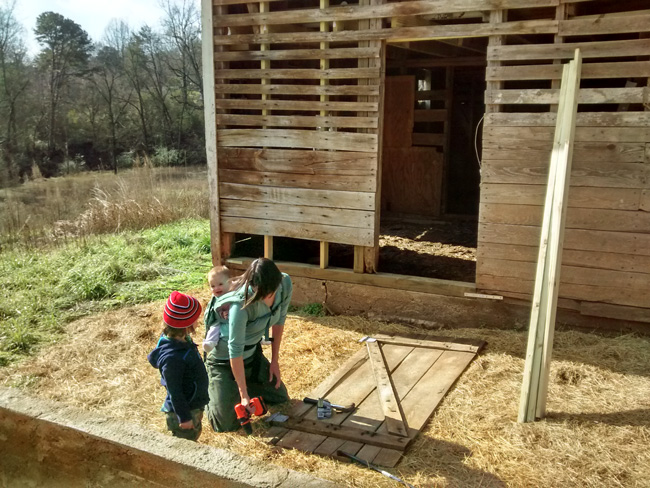Kara repairs the old barn with her kids