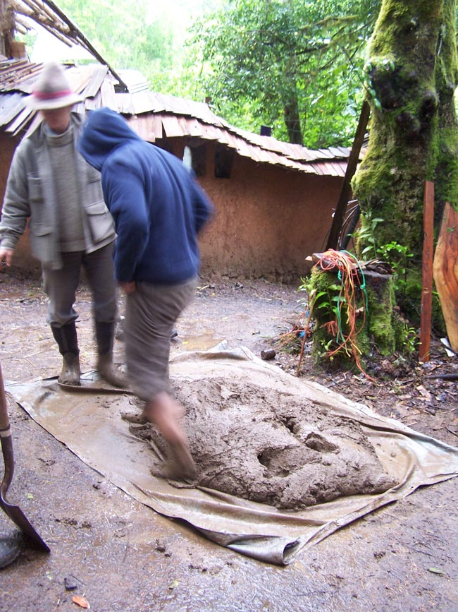 Mixing cob at the Cob Cottage Company school in Southwestern Oregon, USA