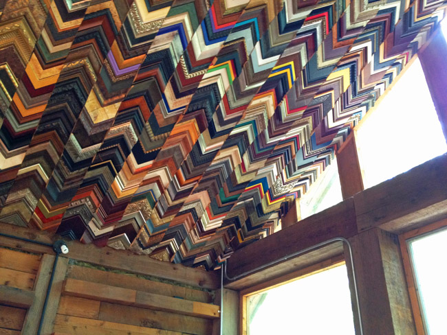 Repurposed picture frame samples turn this art studio ceiling into a myriad of colors (Treehouse and studio by Dan Phillips of Phoenix Commotion).