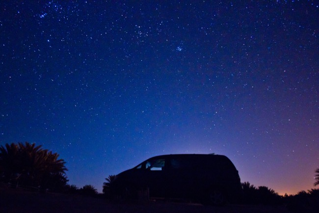 Under the night sky, Morocco.