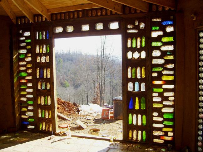 Earthbag house bottle wall sidelights