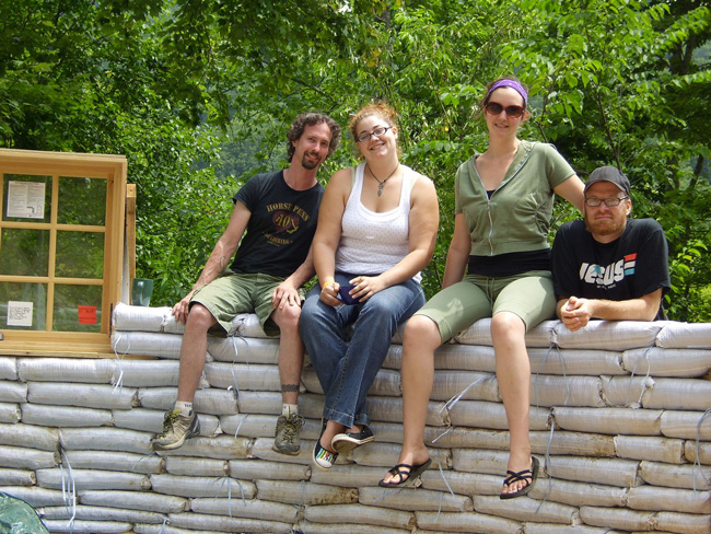 Building the earthbag house with friends