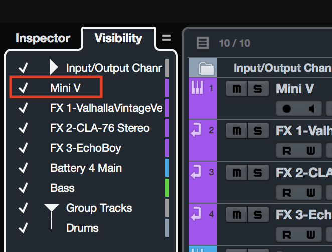 Cubase Checked Track Visibility