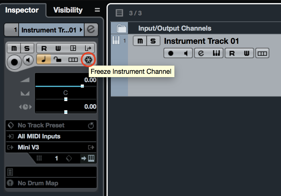 Cubase Freeze Instrument Channel Button
