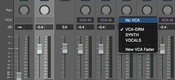 Logic Pro X VCA Strip Selection