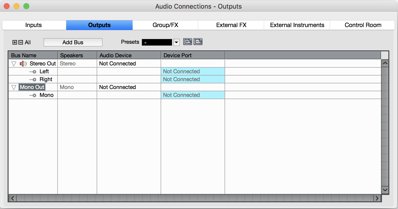 Create Mono Output Bus in Audio Connections