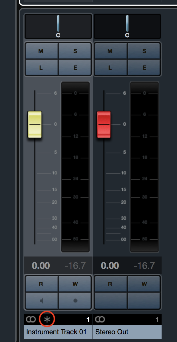 Cubase MixConsole Fader Freeze Icon
