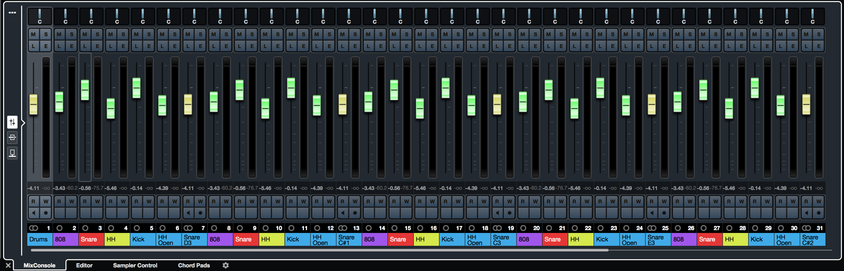 MixConsole with multiplied outputs for virtual instrument
