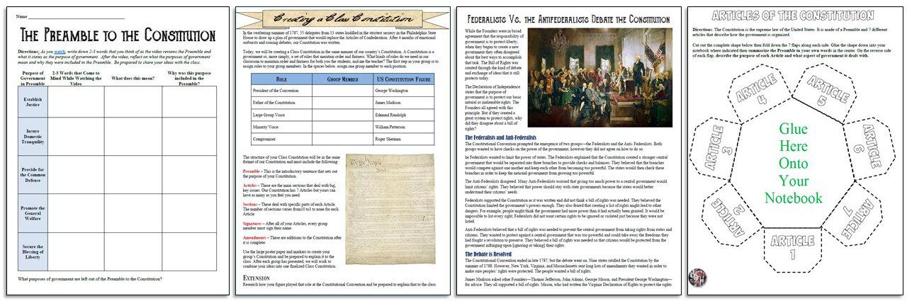 Constitution Unit Plan, Lessons, & Activities