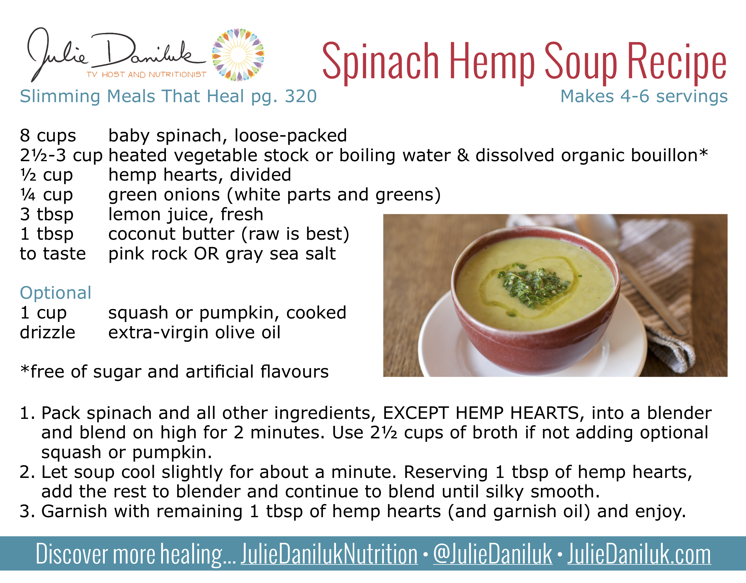 Spinach Hemp Soup Recipe Quick Simple 8 Minutes To Ready