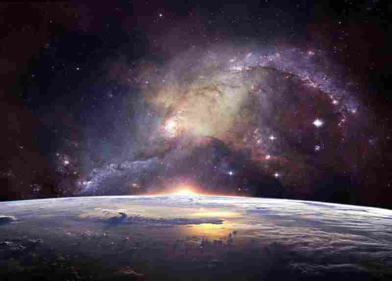 a picture of space, that is a metaphor for the drive for humans to explore