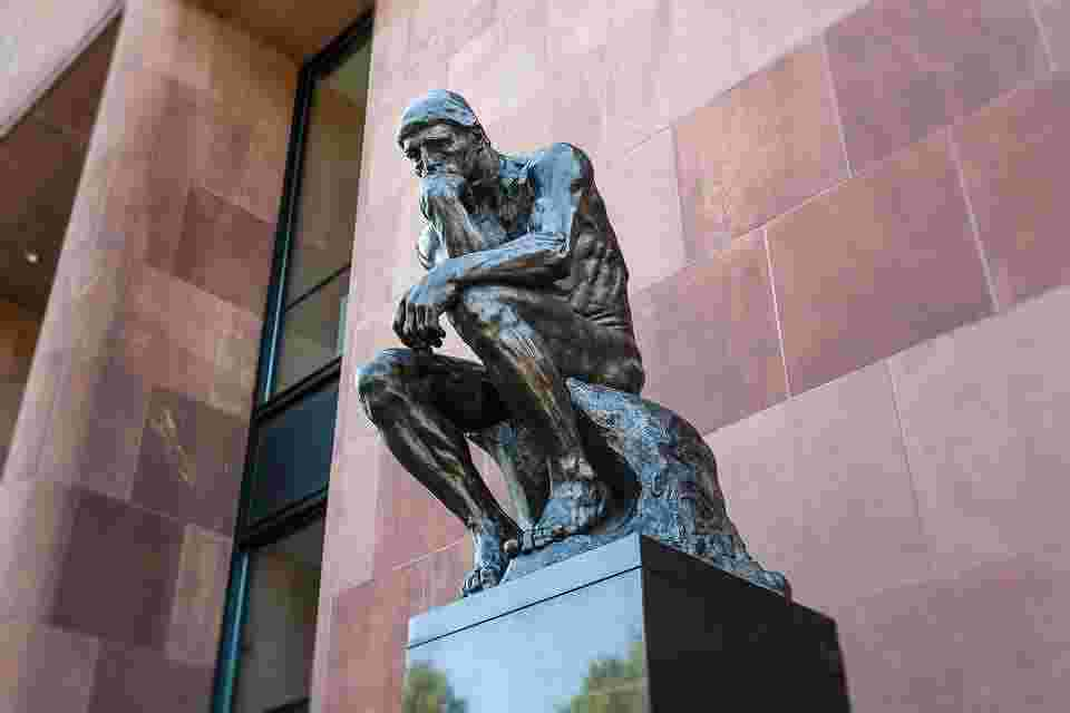the thinker, signifying this blog posts inclination to question everything