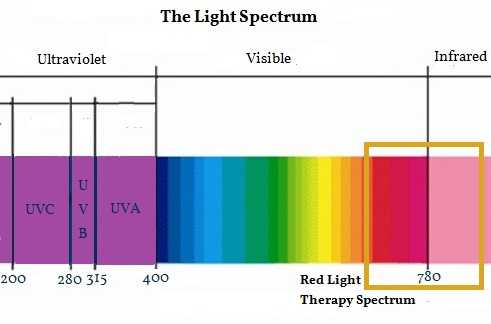 the red and infrared part of the light spectrum