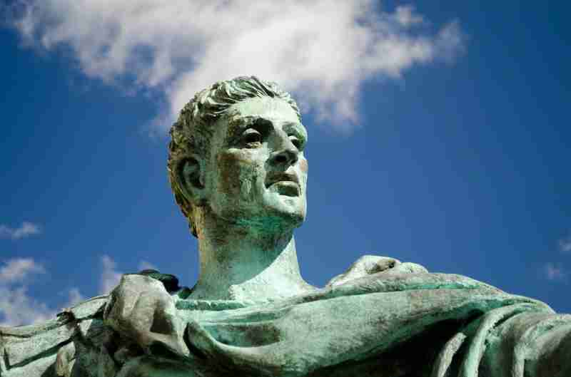 the Roman emperor constantine looking at the heavens, a historical trainsition towards more hyperdopaminergic society as expressed in art