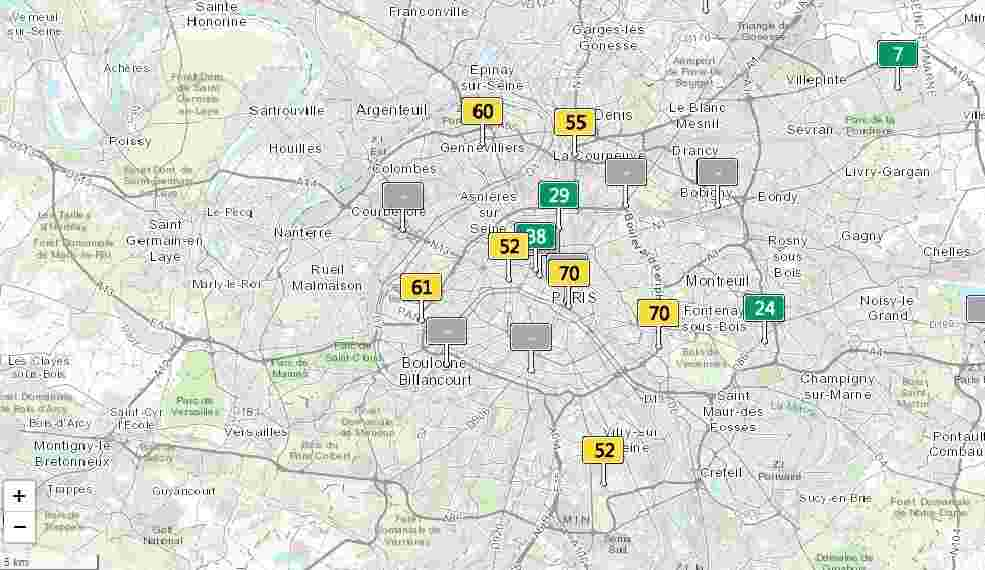 air quality index meter Paris outcome