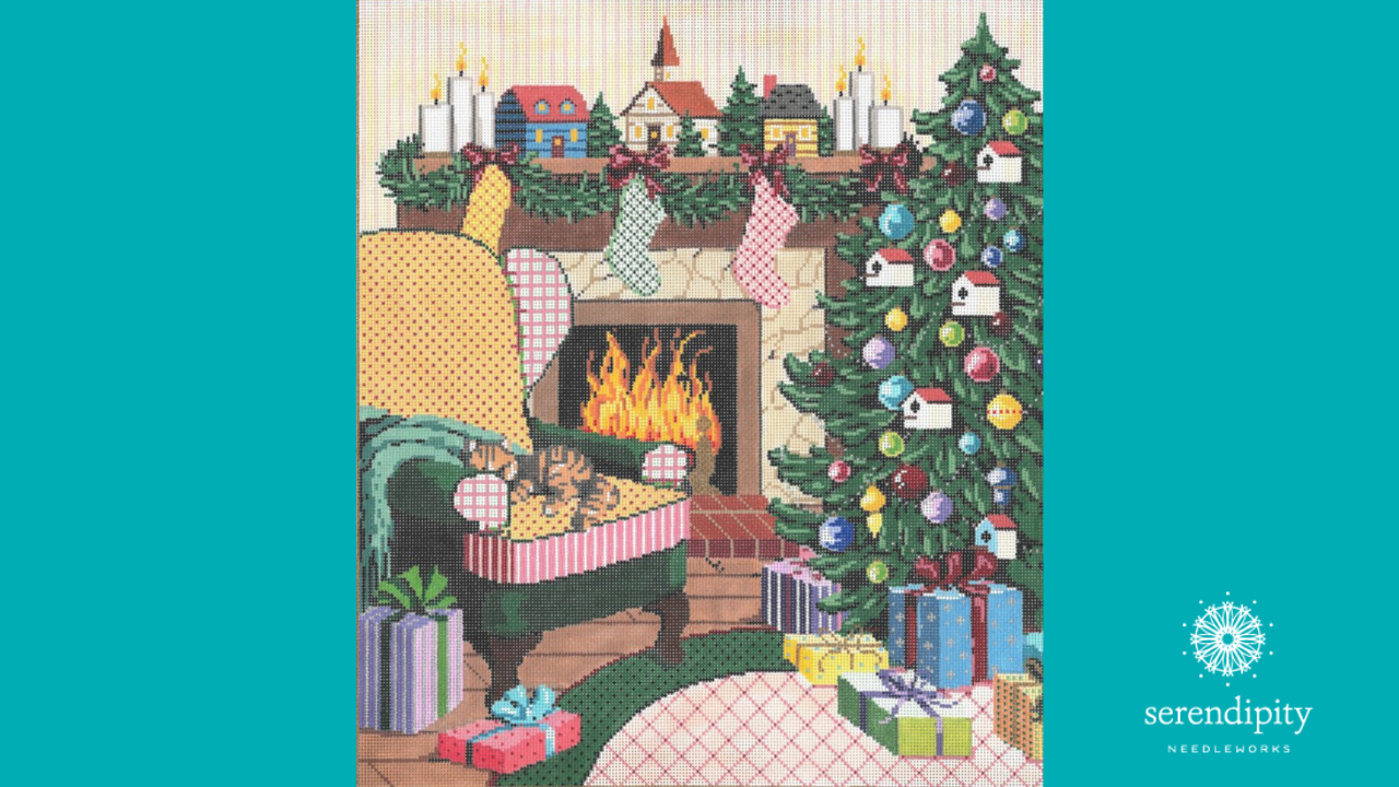"Use the upright Gobelin stitch to stitch the crackling fire in Sandra Gilmore's ""Ready for Santa""."