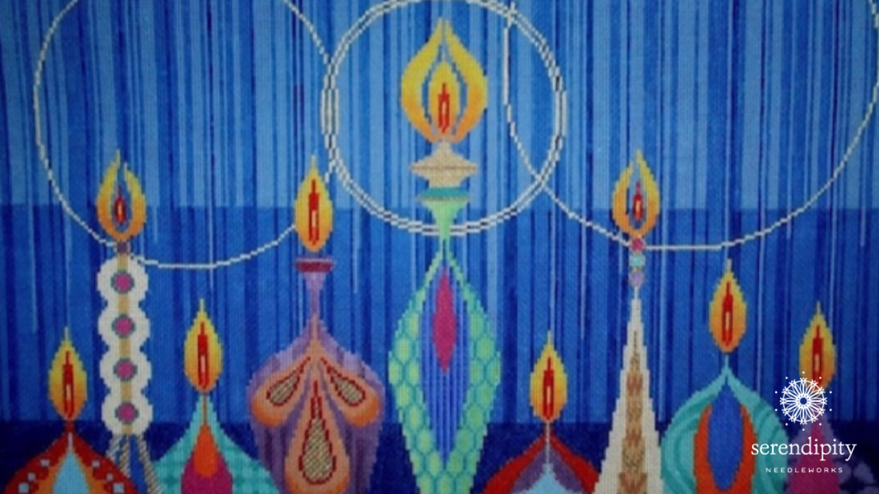 "Use the Gobelin stitch to stitch the flickering candles on Tapestry Fair's beautiful ""Menorah"" canvas."