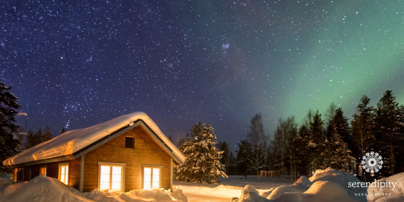 Settling into our cozy cabin in backcountry of Finland... see you next week at our next Threadventure destination.