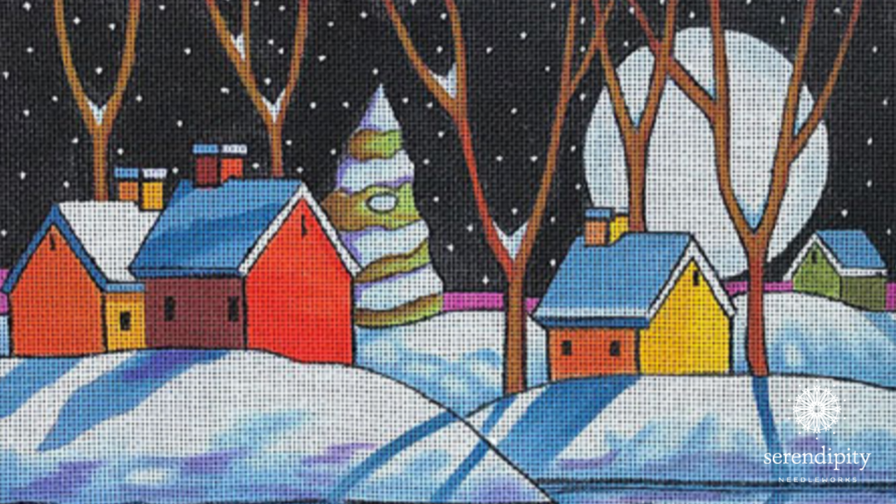 The hills on this snowy scene by Maggie and Co. would look terrific worked in the Nobuko stitch.
