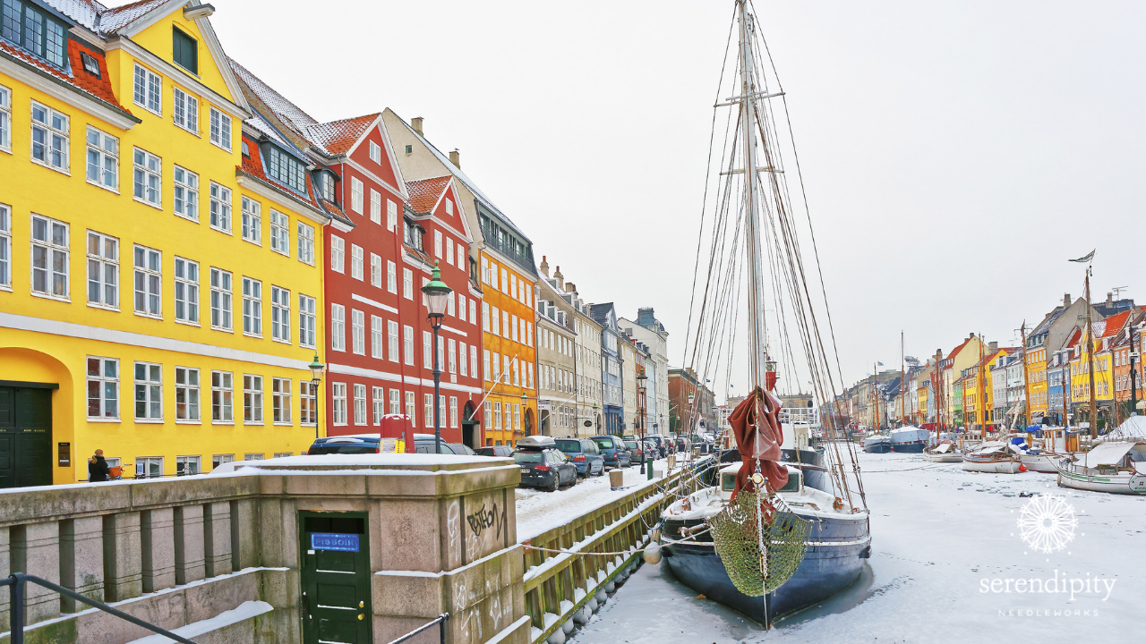 Colorful row houses in the Nyhavn district of Copenhagen, Denmark.