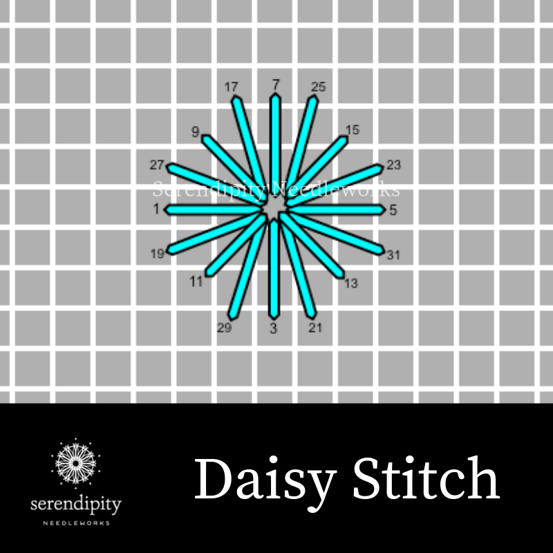 The daisy stitch is a terrific option for stitching snowflakes on your needlepoint projects.