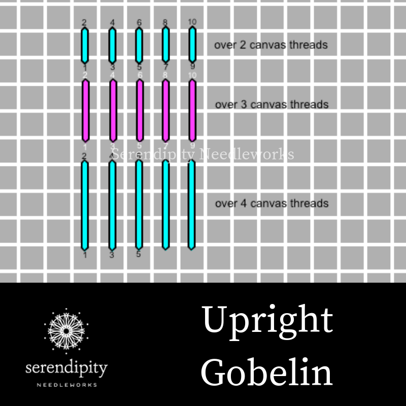 The upright Gobelin stitch is terrific for stitching realistic looking candle flames on your needlepoint projects.
