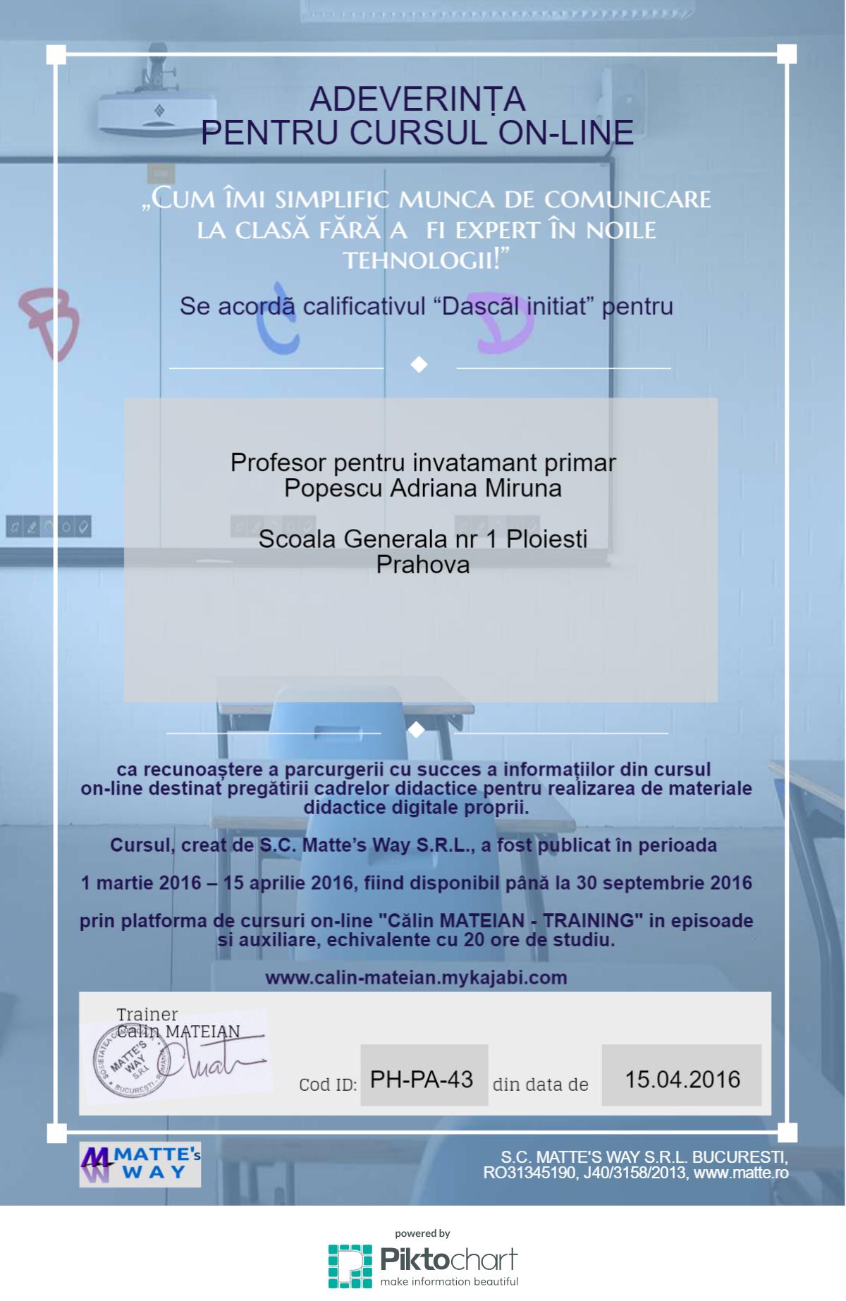 Model de adeverinta de curs pentru infografice - Calin Mateian