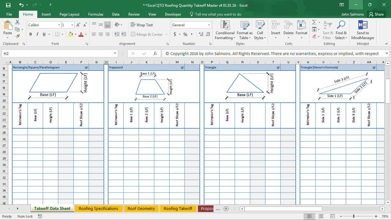 Excel qto roofing quantity takeoff pricing database for Architectural materials list