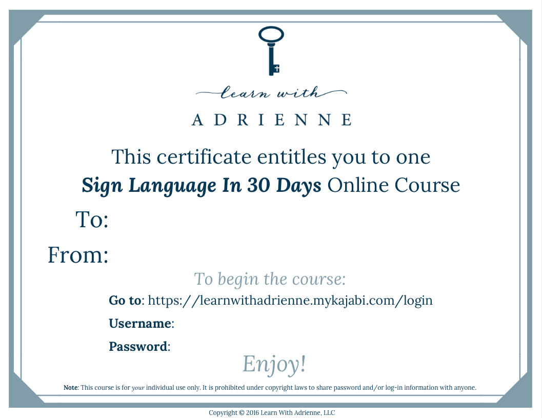 Gift Certificate To Sign Language Online Course