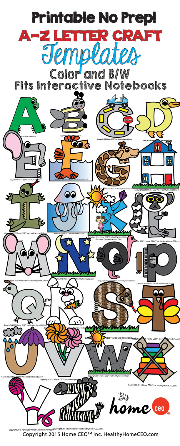 Alphabet letter crafts uppercase letter templates color and bw spiritdancerdesigns Choice Image
